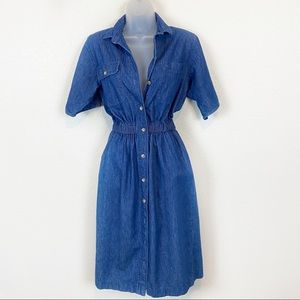 Vintage 90s Made in the USA Denim Button Up Dress